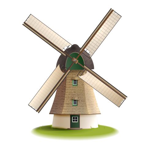 Windmolen geschilderd kleur concept vector