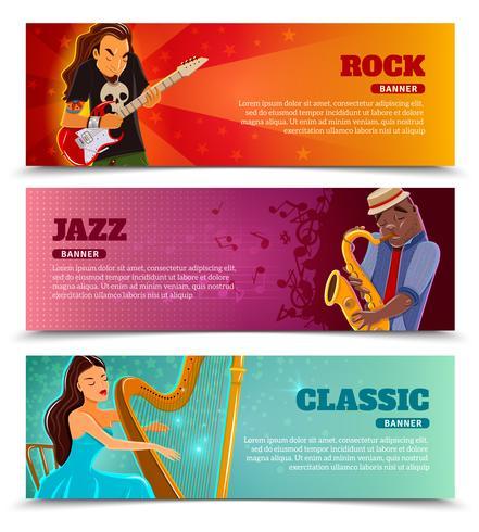 Muziekprestaties vlakke geplaatste banners vector