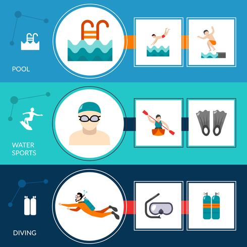 Zwemmen Banners Set vector