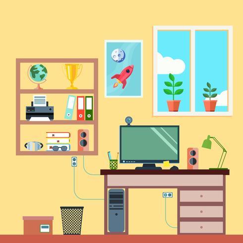 Werkruimte in kamer vector