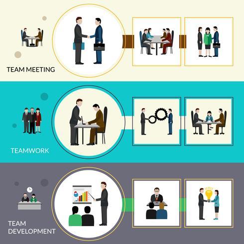 Teamwerkbannerset vector