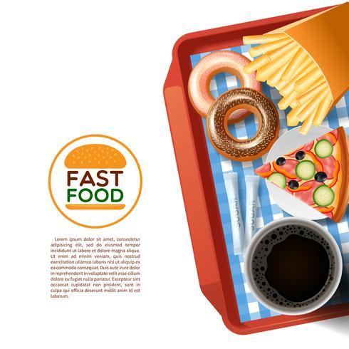 Snel voedsel dienblad achtergrond poster vector