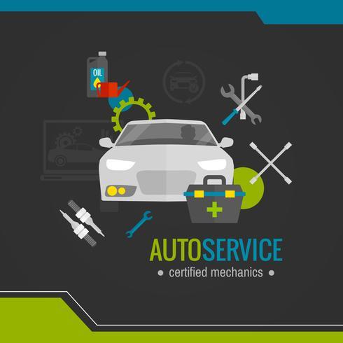 Auto mechanic platte pictogram vector