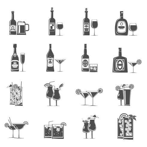 Cocktail pictogrammen zwart vector