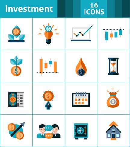 Investeringen Icons Set vector