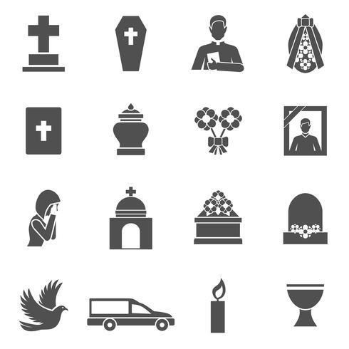 Begrafenis pictogrammen instellen vector