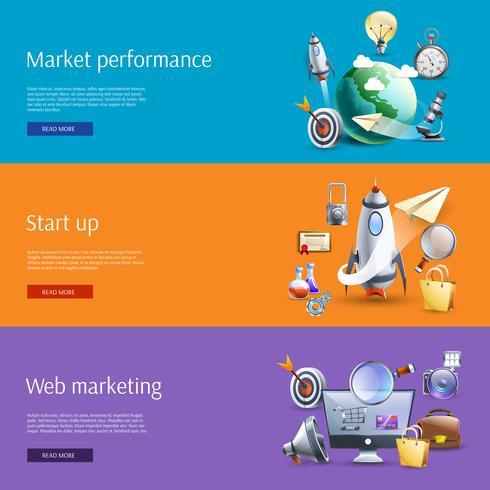 Start marketing vlakke banners set vector