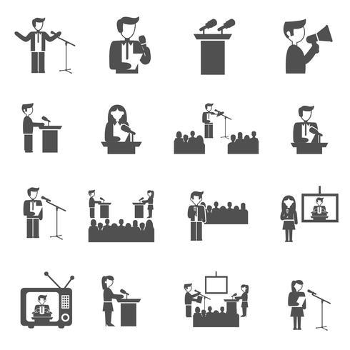 Spreken in het openbaar Icons Set vector