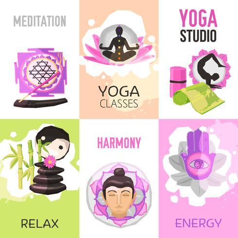 yoga poster set vector