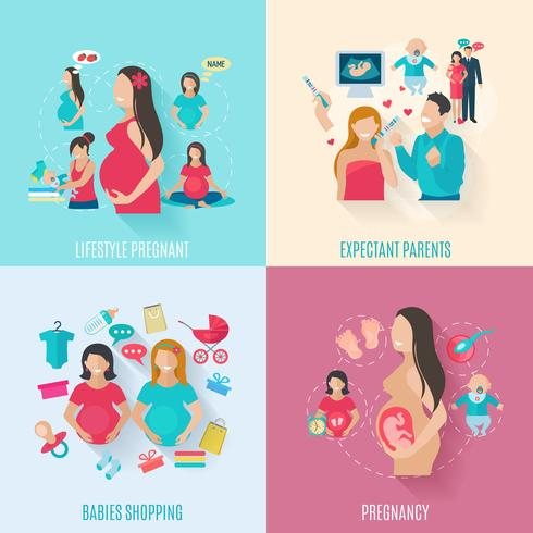 Zwangerschap platte pictogrammen vector