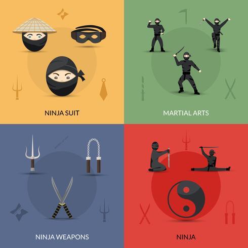 ninja pictogrammen instellen vector