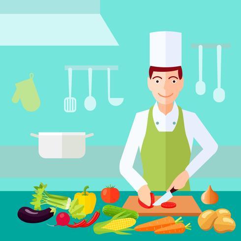 Vlak kleurconcept koken vector