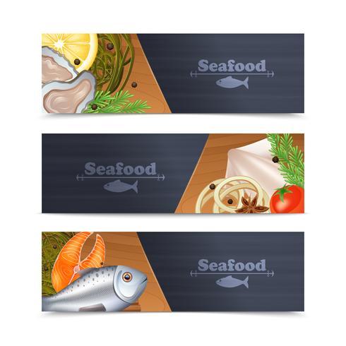 Zeevruchten banner set vector