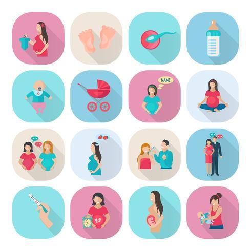 Zwangerschap pictogrammen plat vector