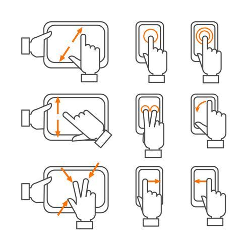 Smartphone-gebaren schetsen geplaatste pictogrammen vector