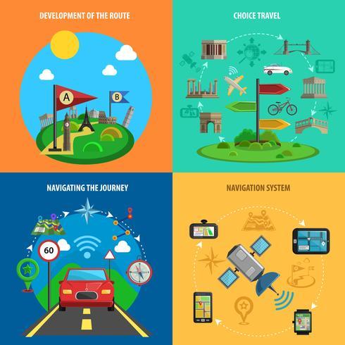Reis- en navigatie decoratieve Icon Set vector