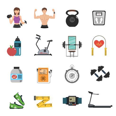 Gym pictogram vlakke set vector