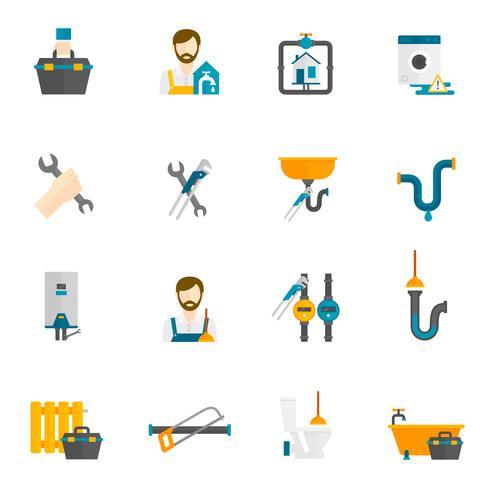 Loodgieter plat pictogrammen instellen vector