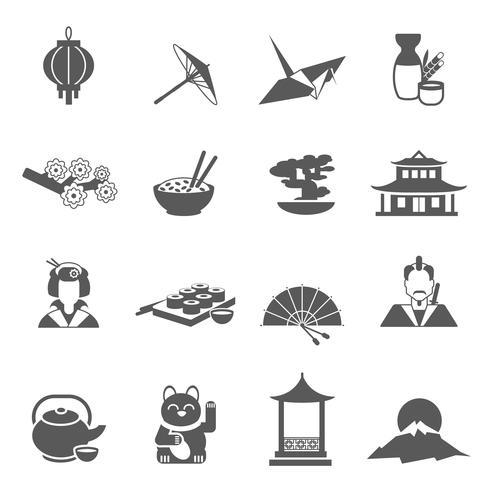 Japan silhouet platte pictogrammenset vector