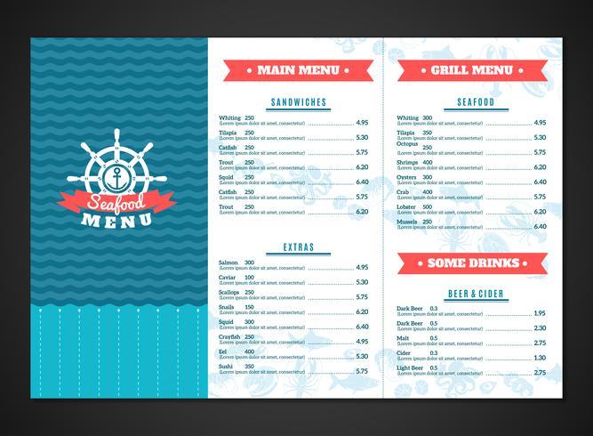 Zeevruchten menusjabloon vector