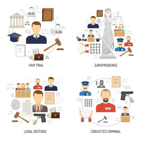 Rechtvaardigheid 4 vlakke pictogrammen vierkante banner vector