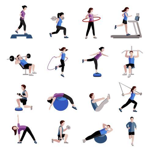 Fitness mannen vrouwen plat pictogrammen instellen vector