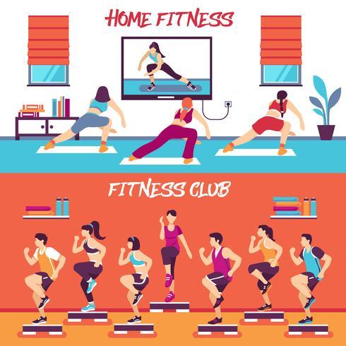 Thuis Klasse Fitness Banners Set vector