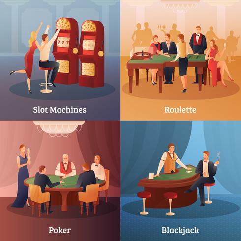 Casino Concept Icons Set vector
