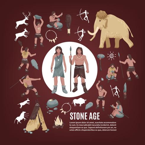Stenen tijdperk mensen Icons Set vector