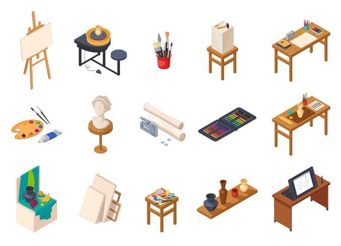 kunst studio-elementen instellen vector