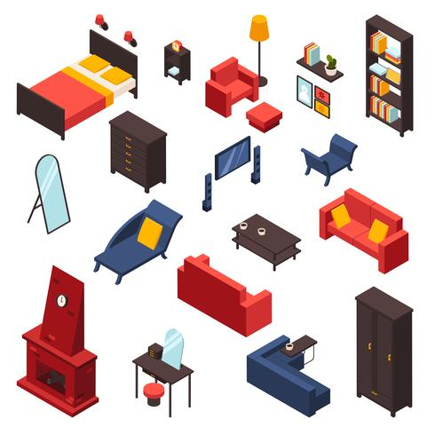 Woonkamer meubels Icons Set vector