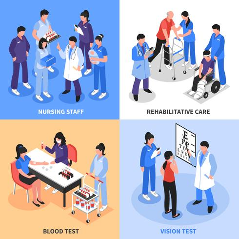 Ziekenhuis 4 isometrische pictogrammen Concept vector