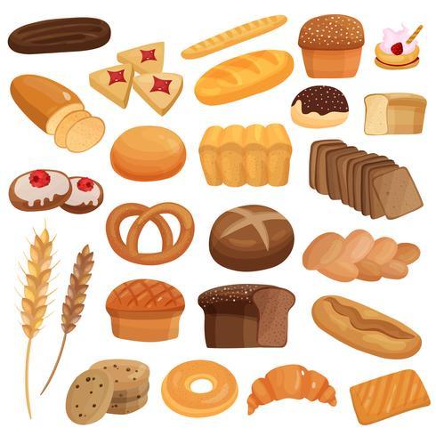 Bakkerijproducten set vector