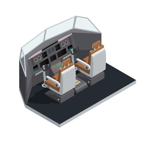 Vliegtuig Binnenlandse Isometrische Geïsoleerde Samenstelling vector