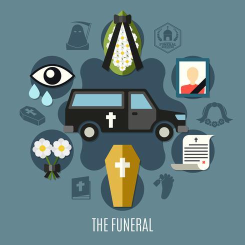 Begrafenis Concept Set vector