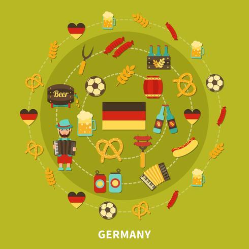 Duitsland pictogrammen ronde samenstelling vector
