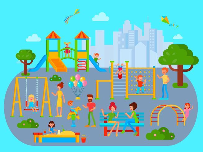 Flat Childrens Speeltuin Compositie vector