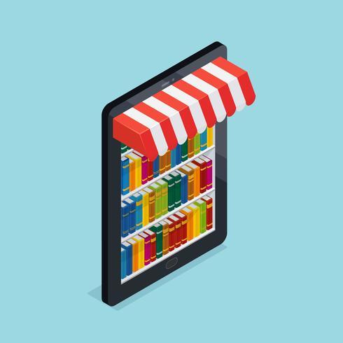 Online boekwinkel isometrische illustratie vector