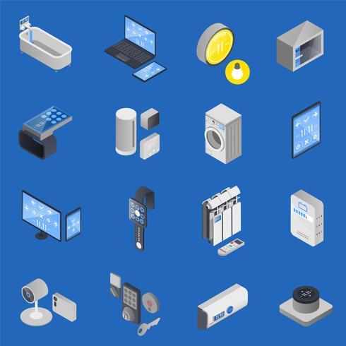 IOT Internet Of Things Isometrische Icon Set vector