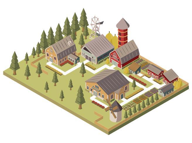 Boerderij gebouwen isometrische illustratie vector
