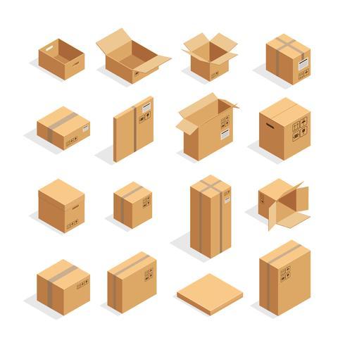 Isometrische verpakkingsdozen instellen vector