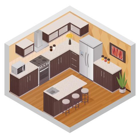Keuken moderne interieur isometrische samenstelling vector