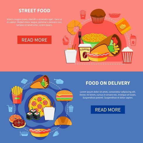 Fast Food 2 Flat Banners-webpagina vector