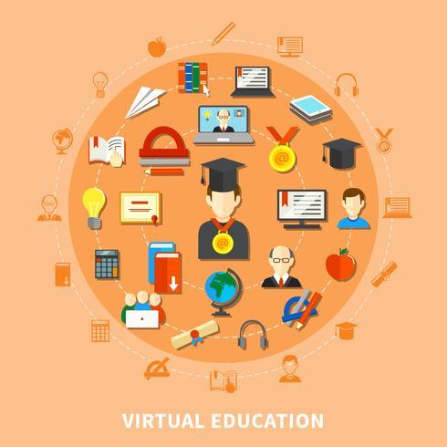 Virtuele onderwijscompositie vector