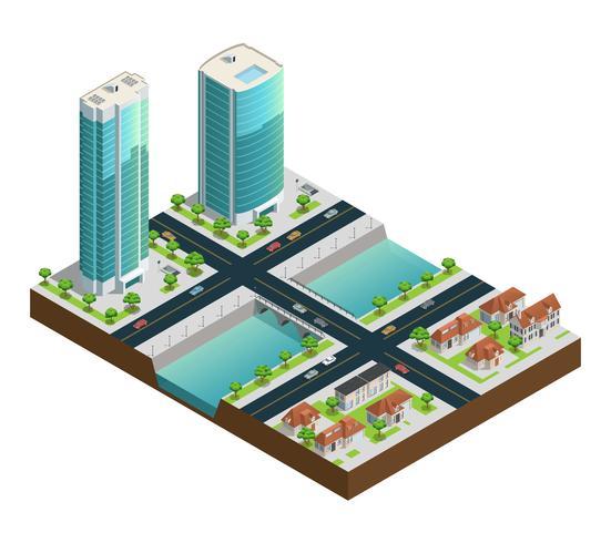 Isometrische wolkenkrabbers en huizen in de voorsteden vector