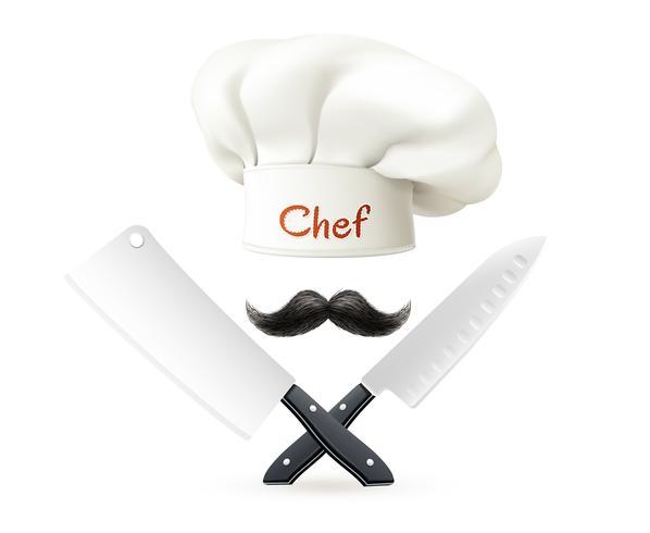 Hoed van chef-kok Snor en messen vector