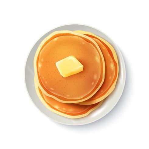 Ontbijt Realistische Pannenkoeken Bovenaanzicht vector