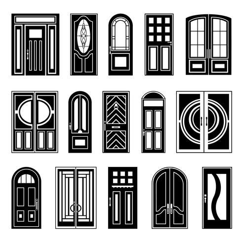 huisdeuren zwarte designcollectie vector