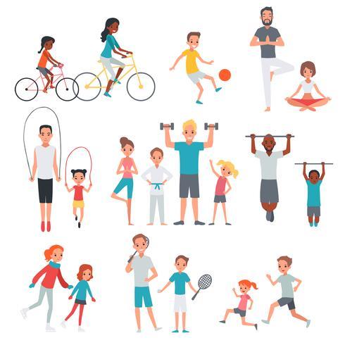 mensen platte fitness set vector
