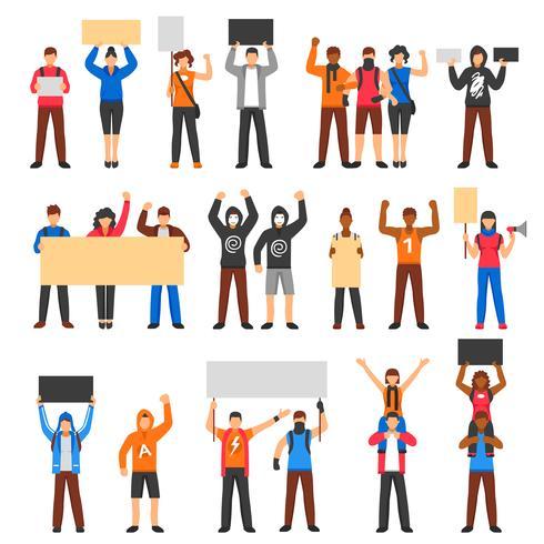 Juichende protesterende menigte Set vector